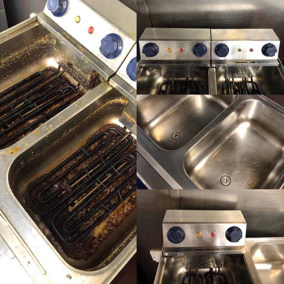 Kitchen fryers before and after cleaning