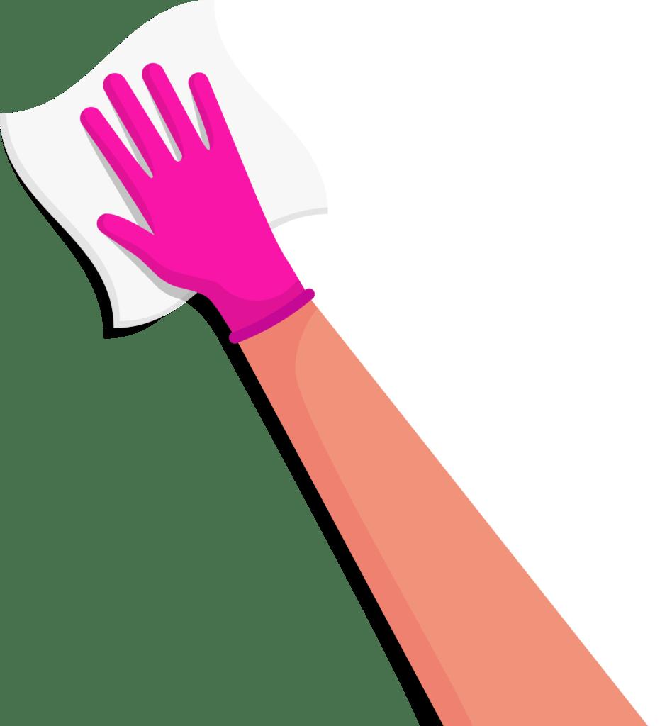 wiping hand